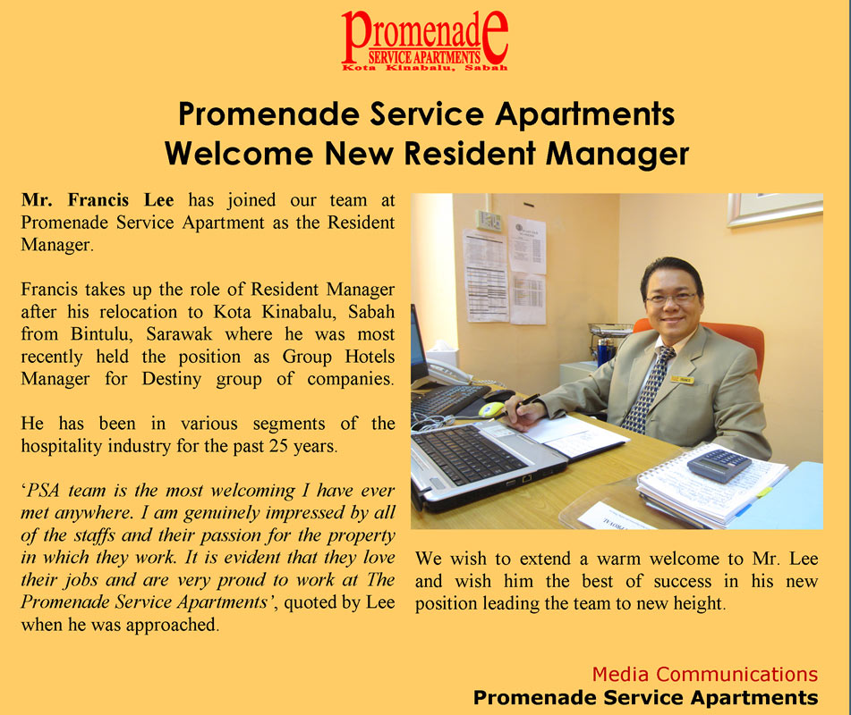 Apartment Com: Promenade Service Apartments » Media Centre